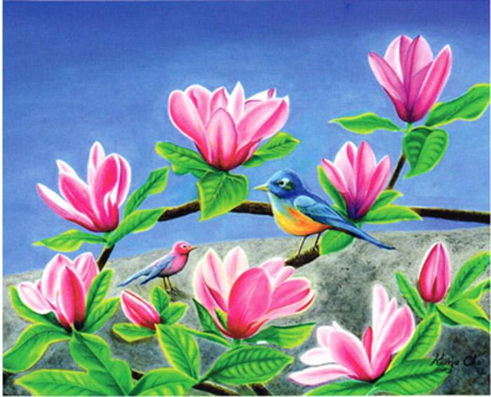 Kwija Cho/Magnolia and Robins/28x 34.5/Oil